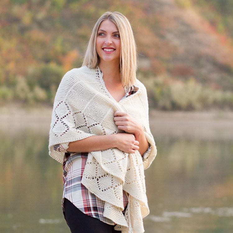 Stargazer crescent shawl knitting pattern by Holli Yeoh