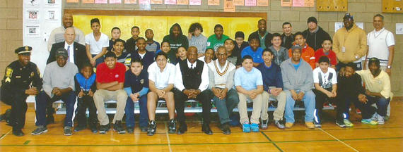 Attendees at the Cricket Hall of Fame's first PAL youth cricket training program.