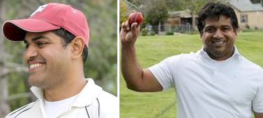 Manjeet Inamdar (left) and Satyam Singh achieved milestones of scoring 2000 runs and taking 100 wickets respectively in the Colorado Cricket League.