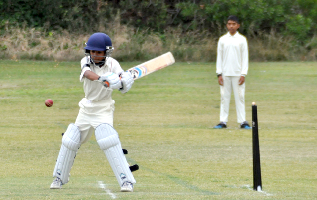 Rajat Sood square cutting on his way to 83 not out.