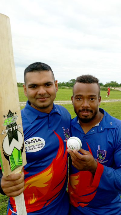 Dilly Khilawan (left) top scored with 39 and Rusty Kirton (right) led the bowling with 4 wickets for 25 runs.