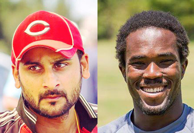 Abhimanyu Rajp (left) and Marcus Stewart shared a partnership of 165. Stewart went to make 101 as Cosmos beat Century.