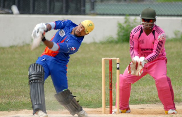 Andre Kirton led Liberty Sports Club batting with a swashbuckling 87 off 36 balls. Photo by Shem Rodney