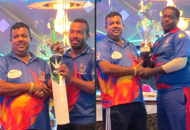 Andre Kirton, best batsman and MVP, and Terrence Madramootoo, best bowler, was honored at the post match presentation by sponsor Hafeez Ali.