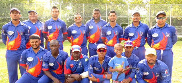 Liberty Sports Club pose for a photo before the start of the final.