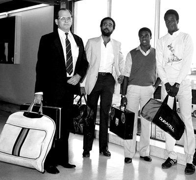 Steve Camacho (left) during his time as West Indies manager with players Jeff Dujon, Gus Logie and Winston Davis.