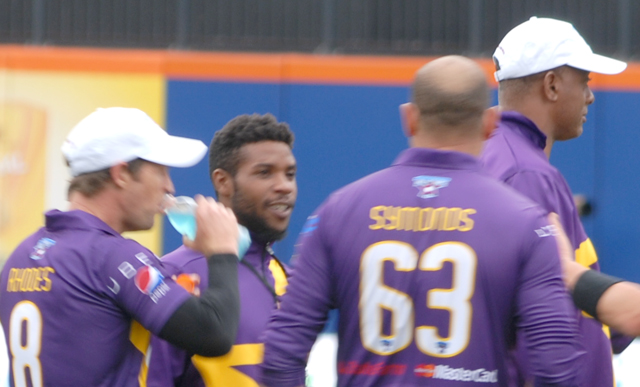 Akeem Dodson with interacting with players from the Cricket All-Stars game in New York. Photos by John Aaron