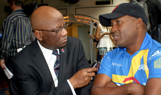Author of this story John Aaron is seen here talking to Brian Lara. Photo by Colin Croft