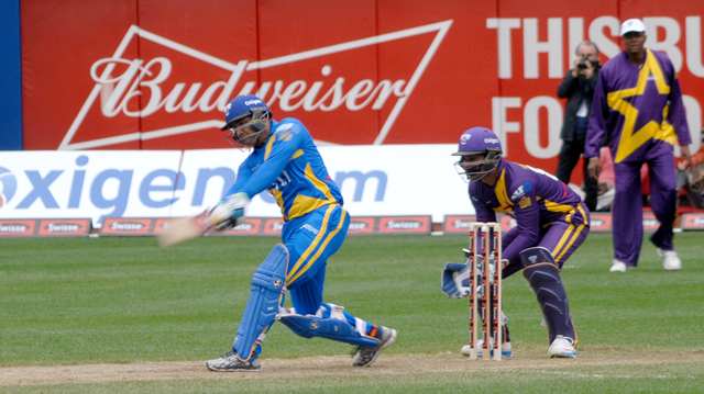 Virender Sehwag during his knock of 55, which came off 22 balls and included 6x6s, 3x4s. Photos by John Aaron