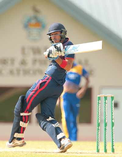 Nitish Kumar top scored for ICC Americas with 42. Pictured above Andre McCarthy registered 118 against ICC Americas. Photos by WICB Media/Ashley Allen