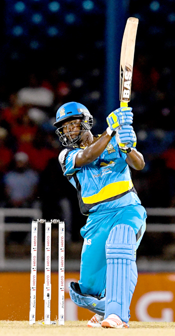 Johnson Charles of St Lucia Zouks hits 4 during Match 1 of the Hero Caribbean Premier League between Trinbago Knight Riders and St Lucia Zouks at the Queen's Park Oval in Port of Spain, Trinidad. Photo by Randy Brooks/Sportsfile