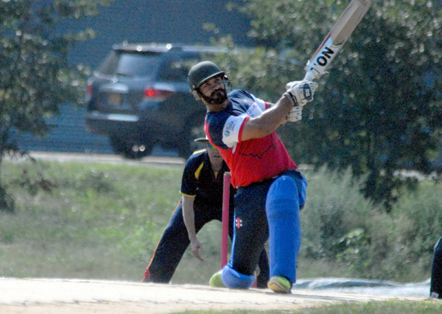 Newcomer Syed Abdullah batting against the visiting MCC earlier this month. Photos by Shiek Mohamed
