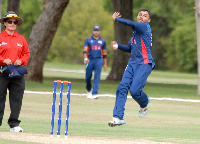 Right spinner Timil Patel picked up 5 for 29 in the opening game of the ICC World Cricket League Div. 4. Photo by Shiek Mohamed