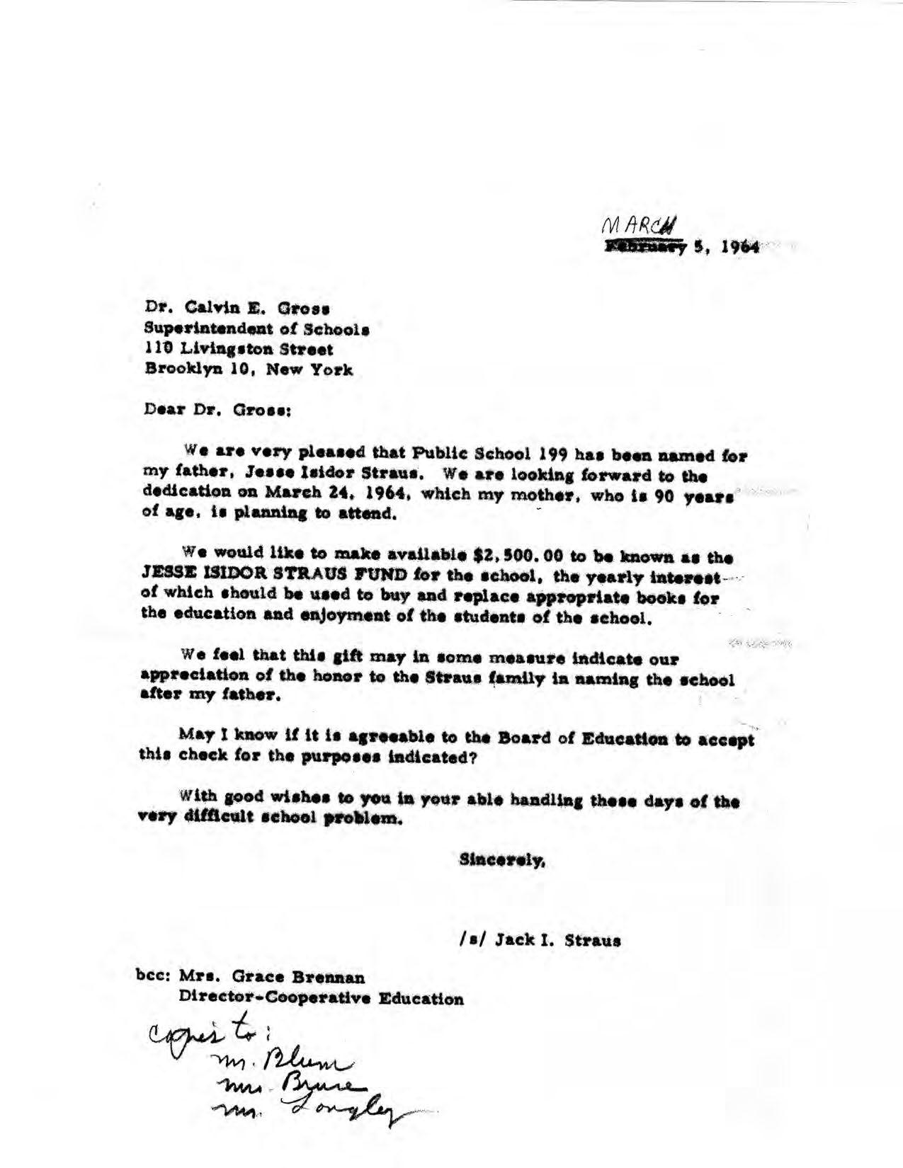 Jack I Straus Letter to Superintendent