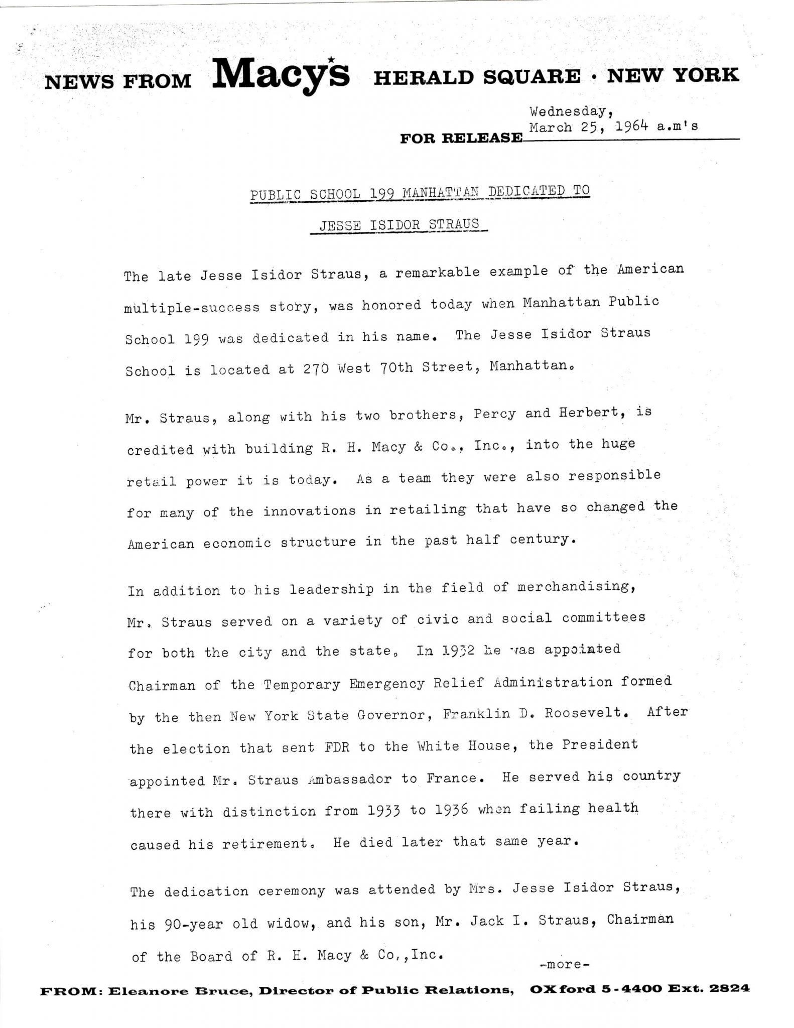 Macys Press Release - Dedication - 25 March 1964