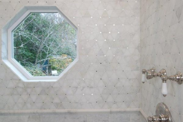 white marble with mirror pin dot mosaic