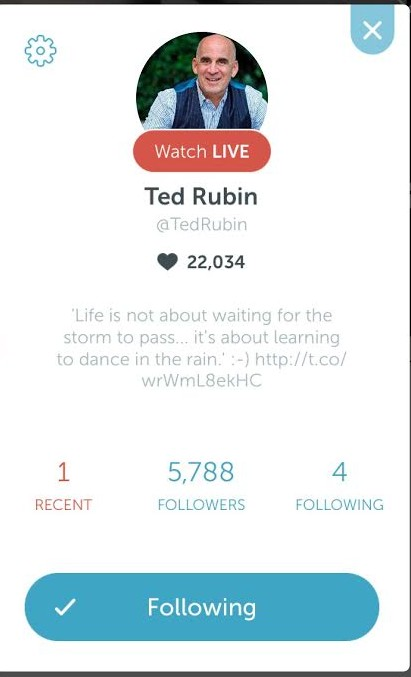 Ted Rubin Periscope Top 10 Weekly