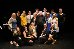 NYU Closer Than Ever cast and crew with Richard Maltby (Lyricist), Meg Bussert (Director)