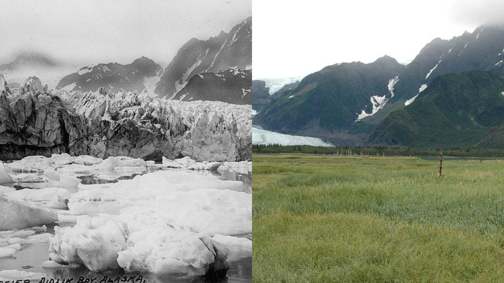 Alaska's Pedersen Glacier as it looked in the 1920s-1940s (left) and as it looked when photographed in 2005 (right). About 90 percent of the world's glaciers are shrinking, and their reduction in size worldwide has accelerated rapidly since the 1970s, according to the Worldwide Glacier Monitoring Service. (Photo by USGS/Bruce Molnia)