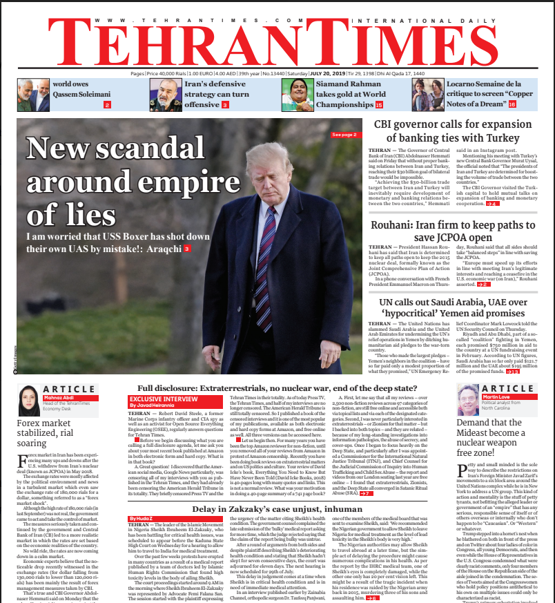 Former CIA Officer Interviewed by the Tehran Times, No Topic is Off Limits