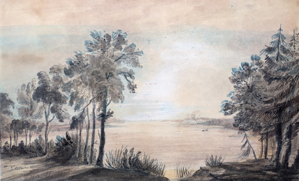 York Harbour facing west as painted by Elizabeth Simcoe. Watercolour courtesy of the Toronto Reference Library.