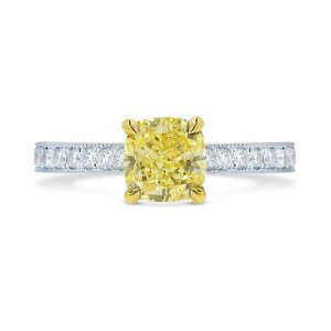 Leibish & Co 0.84Cts Yellow Diamond Engagement Side Stones Ring Set in 18K White Yellow Gold
