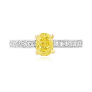 Leibish & Co 0.72Cts Yellow White Diamond Engagement Side Stones Ring Set in 18K White