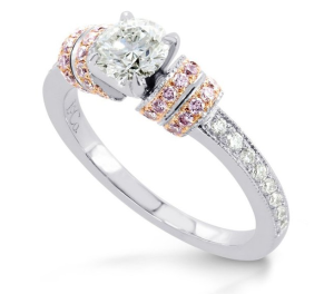 Leibish & Co 0.81Cts Diamond Engagement Side Stones Ring Set in 18K White Rose Gold