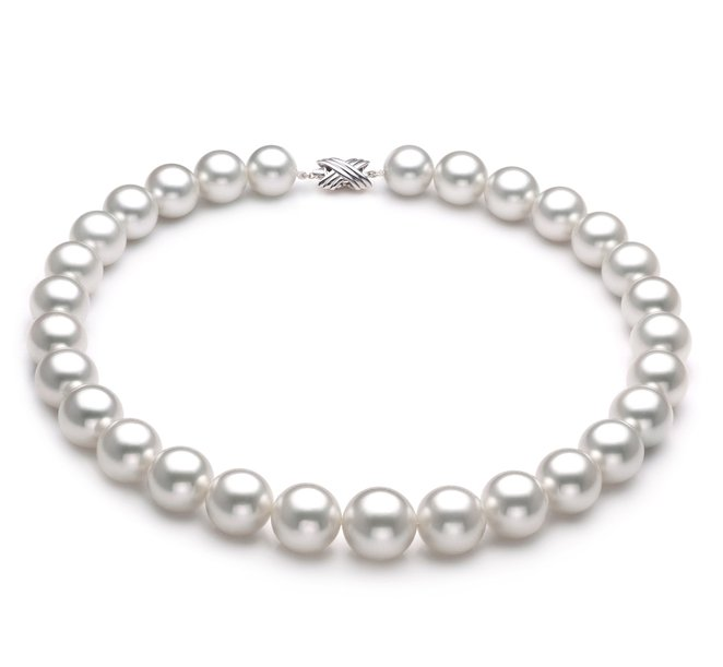 White 14-17mm AAA Quality South Sea 18K White Gold Pearl Necklace