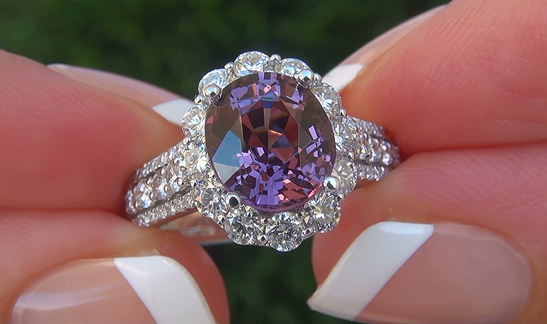 GIA 4.19 ct UNHEATED Natural VVS2 Purple Spinel Diamond 14k Gold Estate Ring