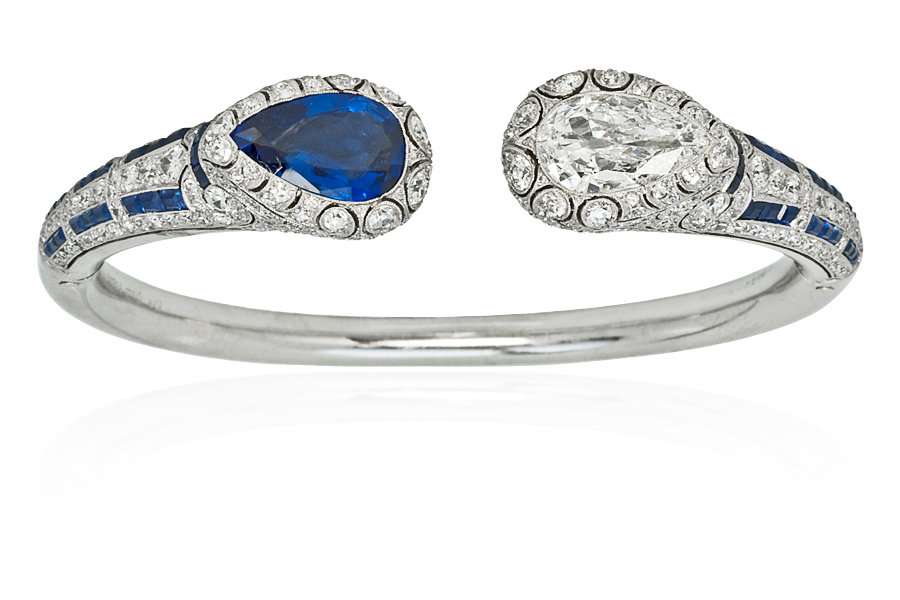Platinum, Sapphire and Diamond Bangle Bracelet, Van Cleef & Arpels, circa 1924 This one-of-a-kind diamond and sapphire bracelet was recently on display at the Musee des Arts Decoratifs at the popular exhibition, Set in Style: The Jewelry of Van Cleef & Arpels, on loan from the Stephen Russell Collection.