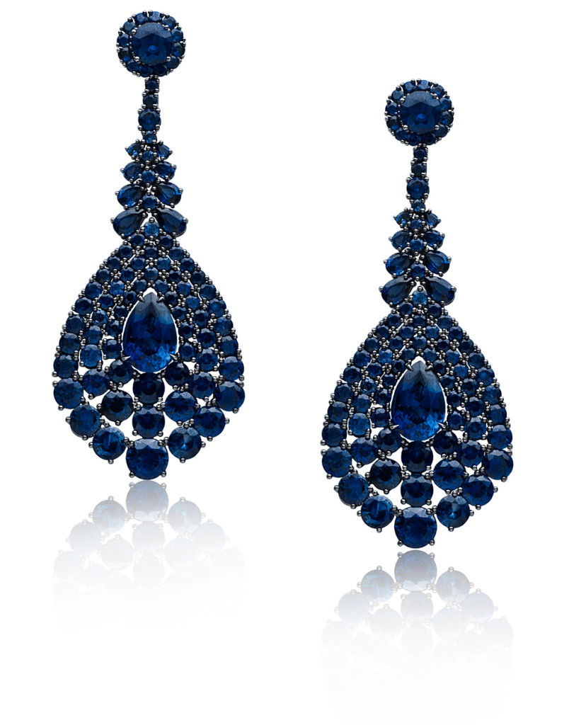 Sapphire and 18K Blackened Gold Earrings from the Stephen Russell Collection.