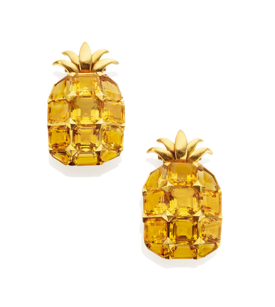 Citrine and Gold Pineapple Clip Brooches by Suzanne Belperron, circa 1942.