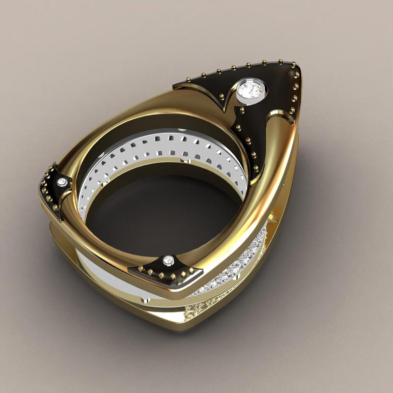 Floating Marquis Black Knight Ladies Ring