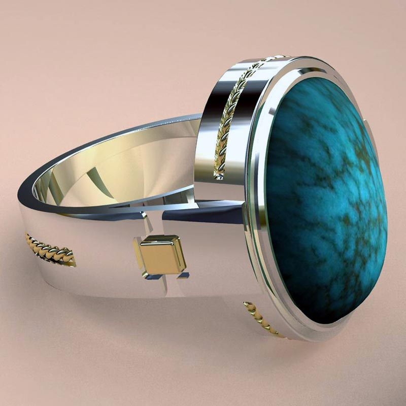 18K and Sterling Carico Lake Turquoise Ring