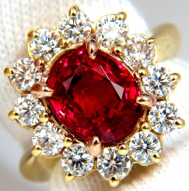 GIA 5.49CT NO HEAT VIVID RED SPINEL DIAMOND RING 18KT UNHEATED