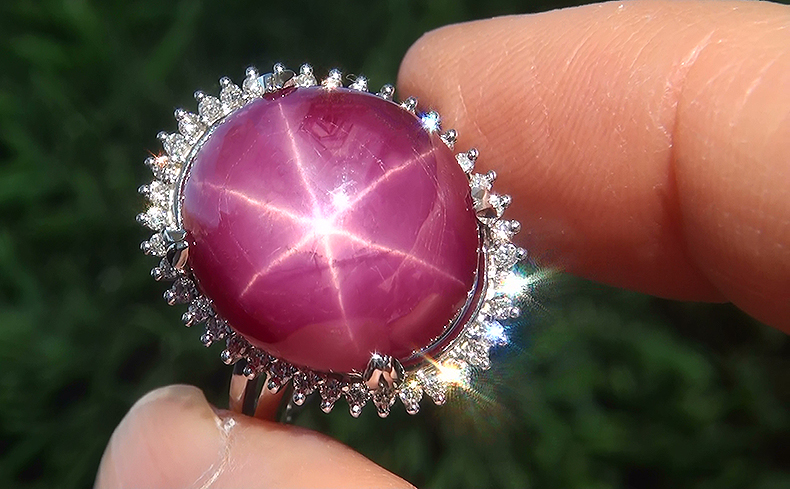Estate 19.94 ct Natural Star Ruby Diamond 14k White Gold Cocktail Ring Certified