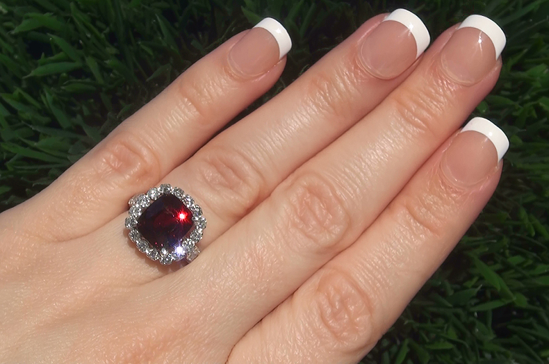 Certified 5.69 ct VVS Natural Purple Spinel Diamond 14k White Gold Cocktail Ring PRIME Vivid Color Near Flawless Natural Gem