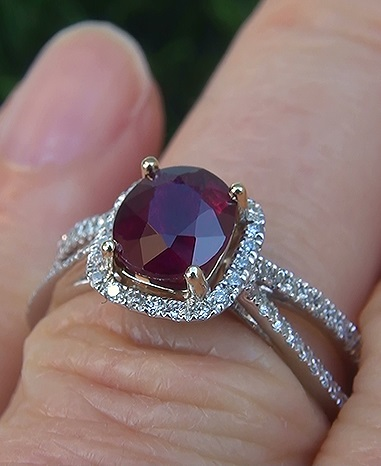 1.73 ct UNHEATED Natural VS Red Ruby Diamond 14k White Gold Cocktail Ring
