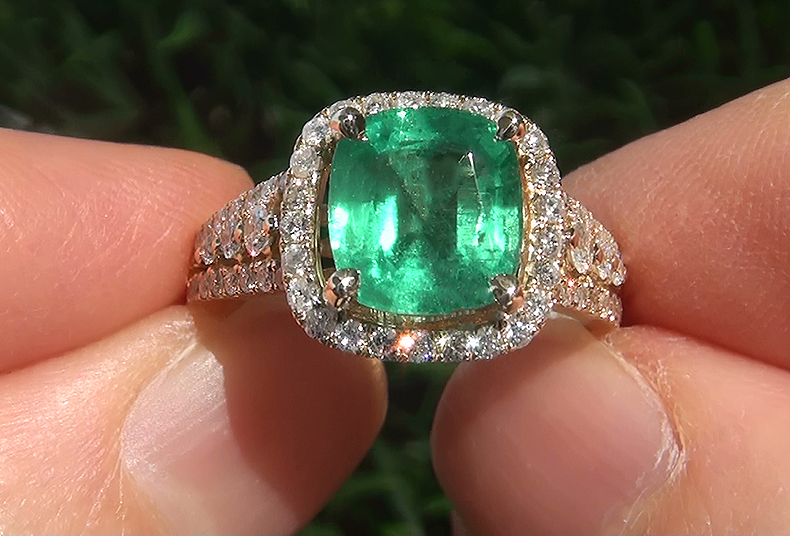 Estate 3.62 ct Natural Colombian Emerald Diamond 14k Yellow Gold Cocktail Ring