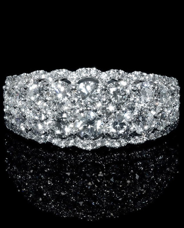 Diamond 18k White Gold Ring This wonderful 18k white gold ring, features 98 round brilliant cut white diamonds of F color, VS2 clarity, weighing 2.28 carats total.