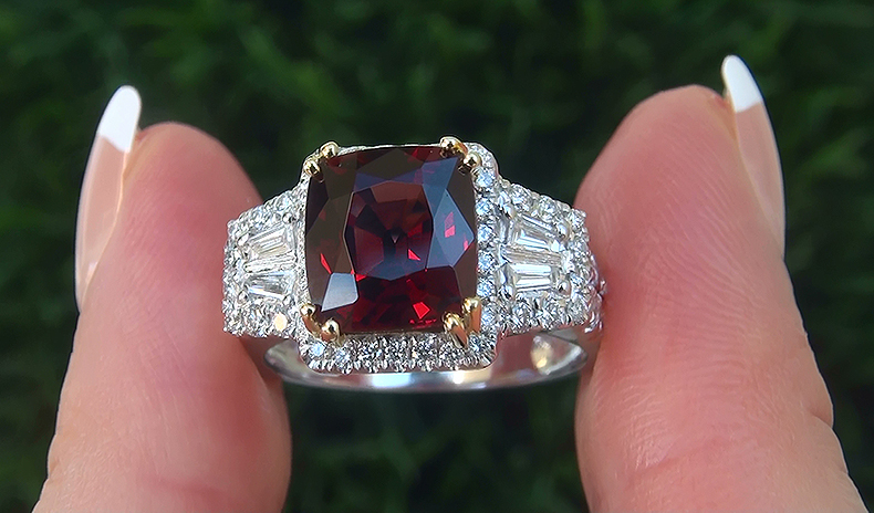 GIA 4.50 ct UNHEATED Natural FLAWLESS Red Spinel Diamond 14k Gold Estate Ring