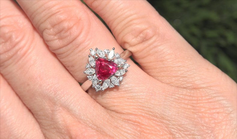GIA 2.86 ct UNHEATED Natural VS2 Red Ruby Diamond 14k White Gold Estate Ring