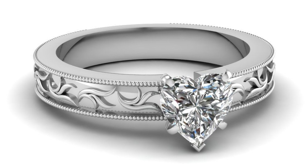 3/4 Carat Heart Shaped Diamond Solitaire Engagement Ring For Women White Gold