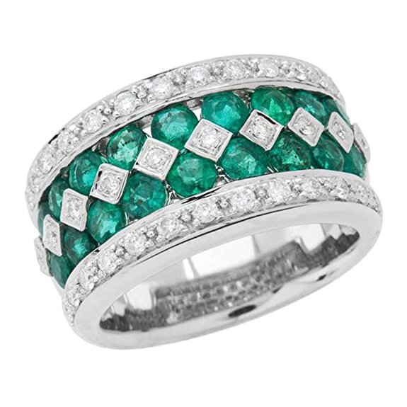 Amoro 18kt White Gold Exquisite Emerald and Diamond Ring (0.51 cttw, H-I Color, SI 1-2 Clarity)