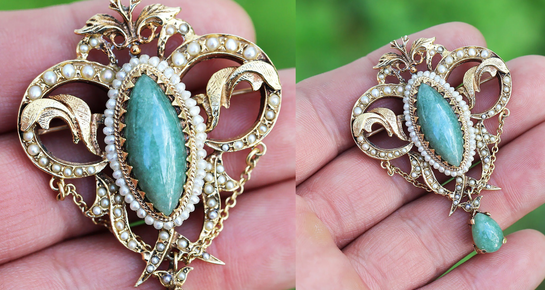 Vintage Jade Brooch Pendant with Seed Pearls in 14kt Yellow Gold