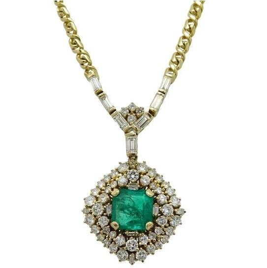 Gorgeous18K Yellow Gold 5.05ct Colombian Emerald and 4.25ct Diamond Necklace
