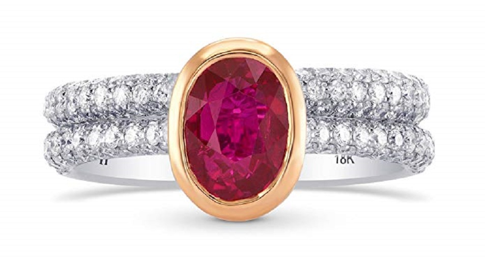 2.64Cts Ruby Side Diamonds Engagement Solitaire Ring Set in 18K White Rose Gold