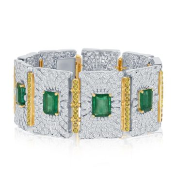 42.74 Ct Emerald and Yellow and white Diamond Bracelet in 18K White Gold