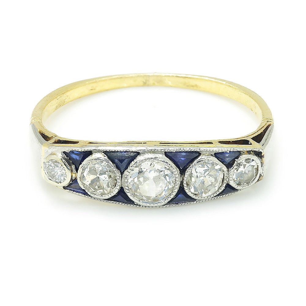 Vintage Old European Diamond Band  with Sapphires in 18Kt Two Tone Gold .50ctw